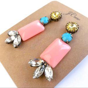 Jcrew pink gem statement earrings